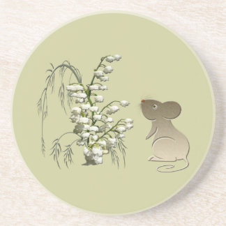 Lily of the Valley and Cute Mouse Coaster