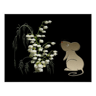 Lily of the Valley and Cute Mouse Poster