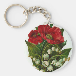 Lily Of The Valley And Poppy Vintage Design Keychain