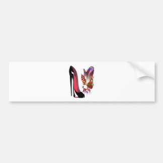 Lily of the Valley Bouquet and Black Stiletto Shoe Bumper Sticker