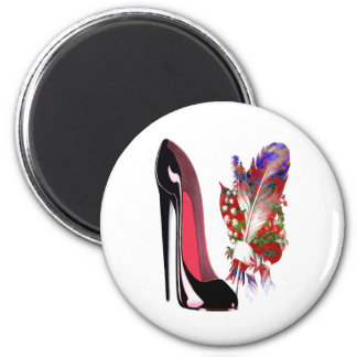 Lily of the Valley Bouquet and Black Stiletto Shoe Fridge Magnet