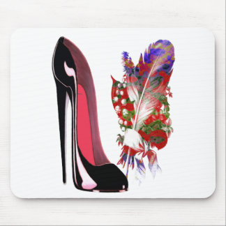 Lily of the Valley Bouquet and Black Stiletto Shoe Mouse Pad