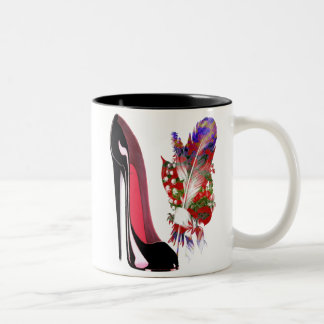 Lily of the Valley Bouquet and Black Stiletto Shoe Two-Tone Coffee Mug