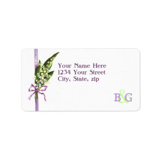 Lily of the Valley BRIDAL monogram address label