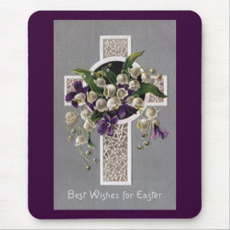 Lily of the Valley Easter Cross Mousepad