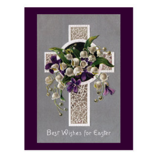Lily of the Valley Easter Cross Postcard