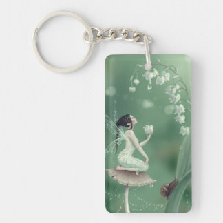 Lily of the Valley Fairy Double Sided Keychain Rectangular Acrylic Keychain