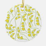 Lily of the Valley Floral Pattern Double-Sided Ceramic Round Christmas Ornament