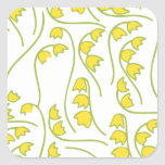 Lily of the Valley Floral Pattern Square Stickers