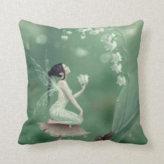 Lily of the Valley Flower Fairy Green Pillow