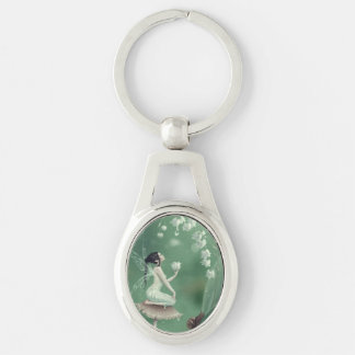Lily of the Valley Flower Fairy Oval Keychain