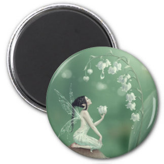 Lily of the Valley Flower Fairy Round Magnet
