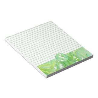 Lily of the Valley Flowers Monogram Lined Note Pad