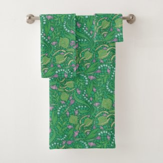 Lily of the Valley Green Garden Print Bath Towels