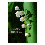 Hand shaped Lily of the Valley Happy Birthday Card