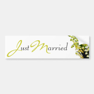 Lily of the Valley Just Married Bumper Sticker Car Bumper Sticker