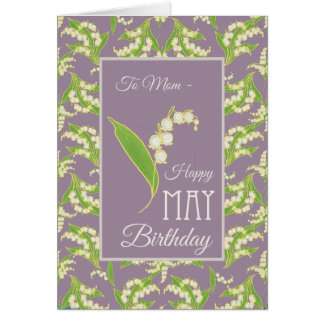 Lily-of-the-Valley May Birthday Card, Mauve: Mom Card