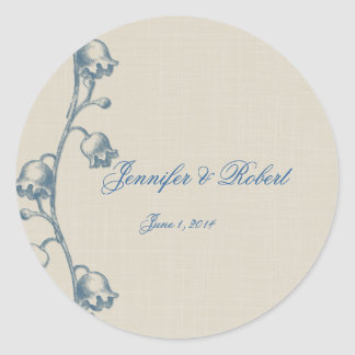 Lily of the Valley on Linen Envelope Seal Classic Round Sticker