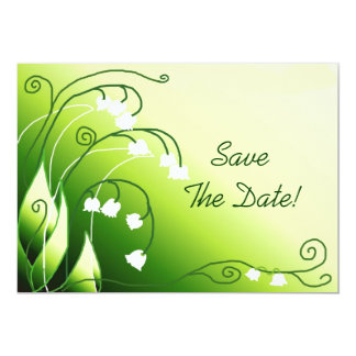 """Lily Of The Valley Save The Date 5"""" X 7"""" Invitation Card"""