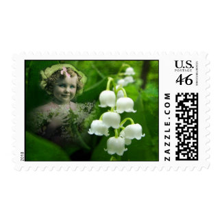 Lily of the Valley Sweet White Bell Flower Bouquet Postage Stamp