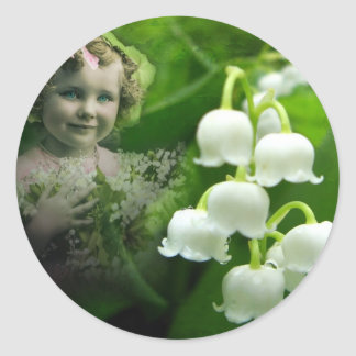 Lily of the Valley Sweet White Bell Flower Bouquet Round Sticker
