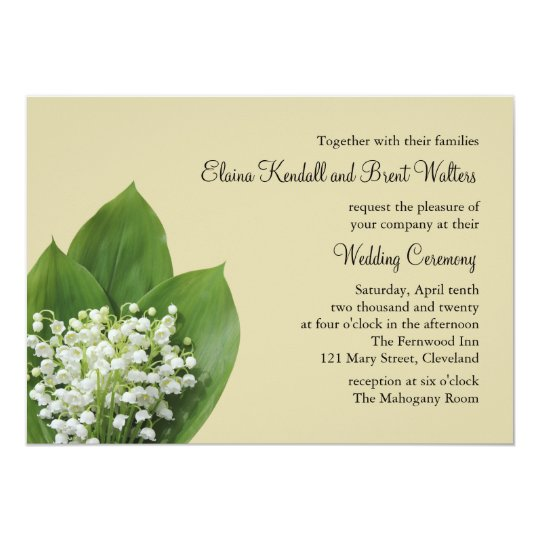 Lily of the Valley Wedding Invitation (beige)
