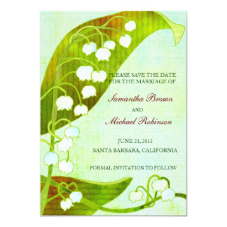 """Lily of the Valley Wedding Save The Date 5"""" X 7"""" Invitation Card"""