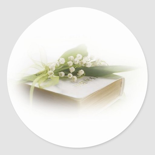 lily of the valley with bible classic round sticker