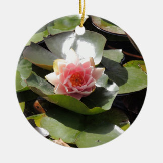 Lily Pad and Flower Ceramic Ornament