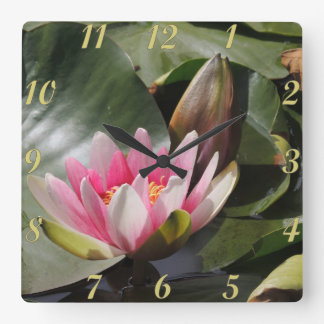 Lily Pad and Flower Square Wall Clock