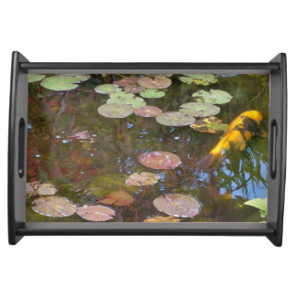 Lily Pad and Koi Pond Serving Tray -Blk