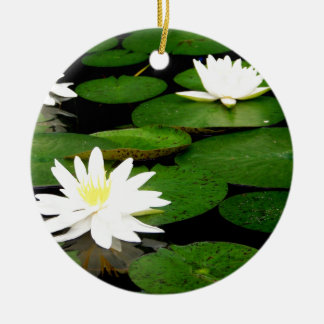 Lily Pad Double-Sided Ceramic Round Christmas Ornament