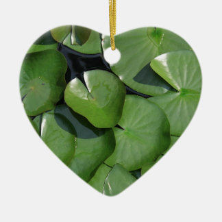 Lily Pad Double-Sided Heart Ceramic Christmas Ornament