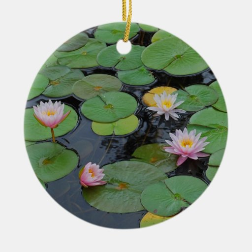 Lily Pad In Pink Ceramic Ornament