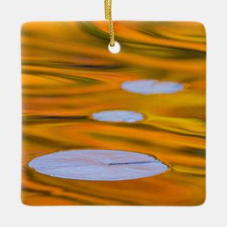 Lily pad on orange water, Canada Ceramic Ornament