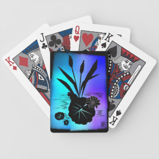 lily pad silhouette bicycle playing cards