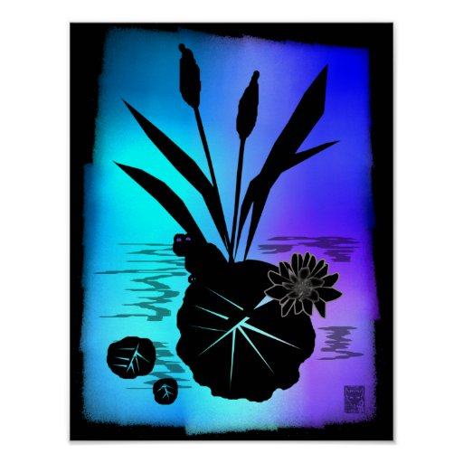 lily pad silhouette poster