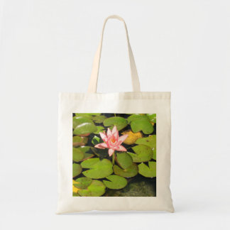 Lily Pads and Pink Flower Totebag Bags