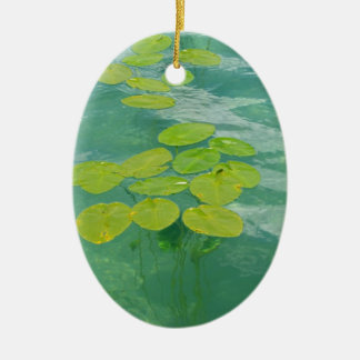 Lily Pads Double-Sided Oval Ceramic Christmas Ornament