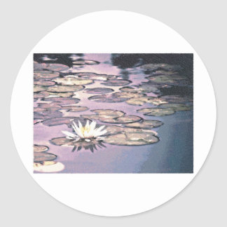 Lily Pads Drawing Classic Round Sticker