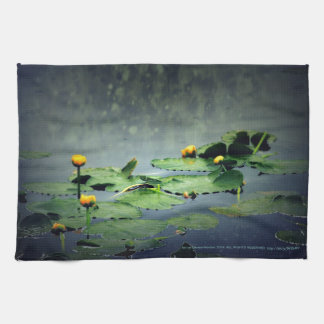 lily pads in the rain at Vernonia Lake Kitchen Towel