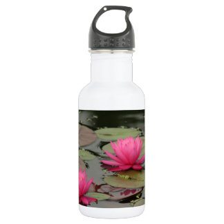 Lily Pads With Pink Flowers Stainless Steel Water Bottle