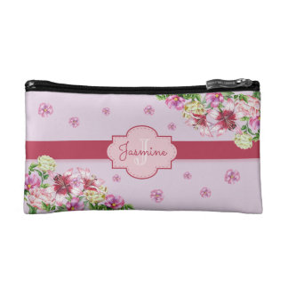 Lily & Peony Floral Purple Makeup Bag