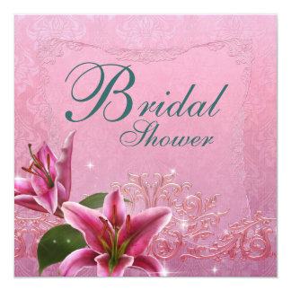 Lily Pink Teal Blue Lily Bridal Shower Invitations