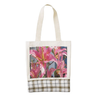 Lily Plant Outdoor Pink Zazzle HEART Tote Bag