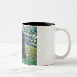 Lily Pond Bridge - 2 Standard Poodles Two-Tone Coffee Mug