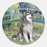 Lily Pond Bridge - Alaskan Malamute Round Sticker