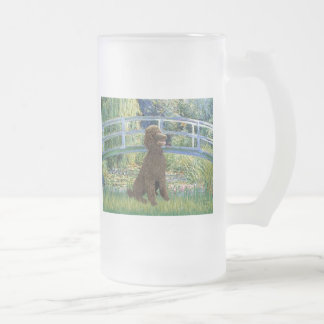 Lily Pond Bridge-Chocolate St Poodle Frosted Glass Beer Mug