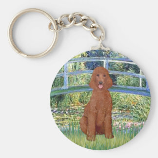 Lily Pond Bridge - Dark Red Standard Poodle #1 Keychain