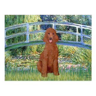 Lily Pond Bridge - Dark Red Standard Poodle #1 Postcard